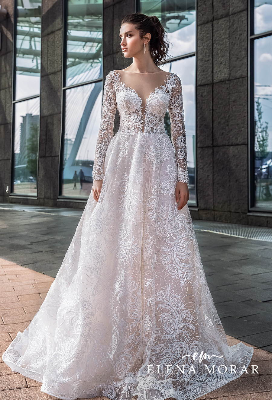 elena morar 2021 rotterdam bridal long sleeves illusion bateau v neck full embellishment romantic a line wedding dress sheer button v back (rm015) mv