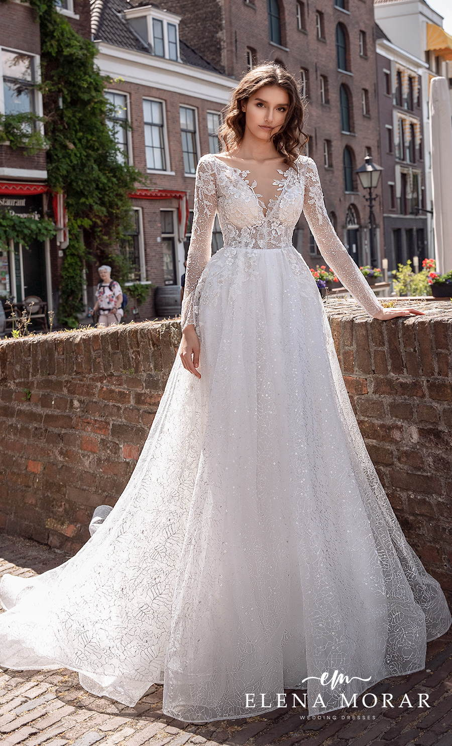 elena morar 2021 rotterdam bridal long sleeves v neck heavily embellished bodice romantic a line wedding dress v back chapel train (rm006) mv