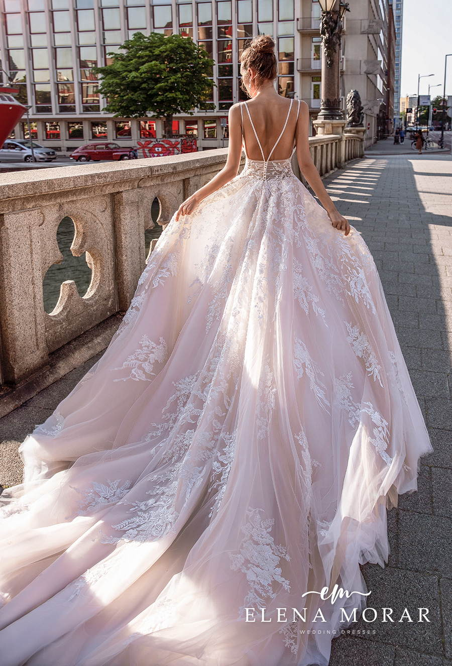 elena morar 2021 rotterdam bridal sleeveless double strap v neck heavily embellished bodice romantic blush a line wedding dress backless v back long train (rm017) bv