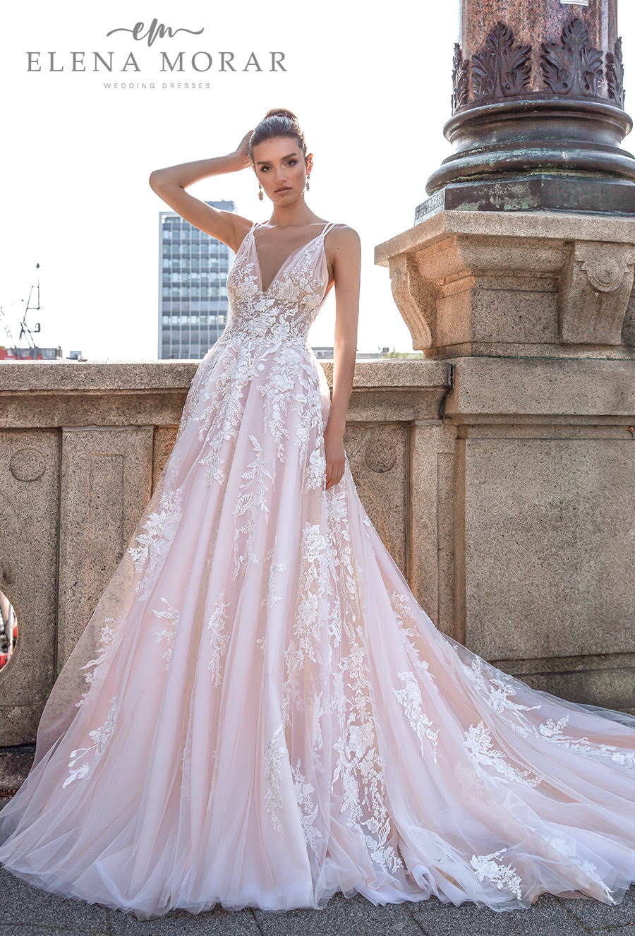 elena morar 2021 rotterdam bridal sleeveless double strap v neck heavily embellished bodice romantic blush a line wedding dress backless v back long train (rm017) mv