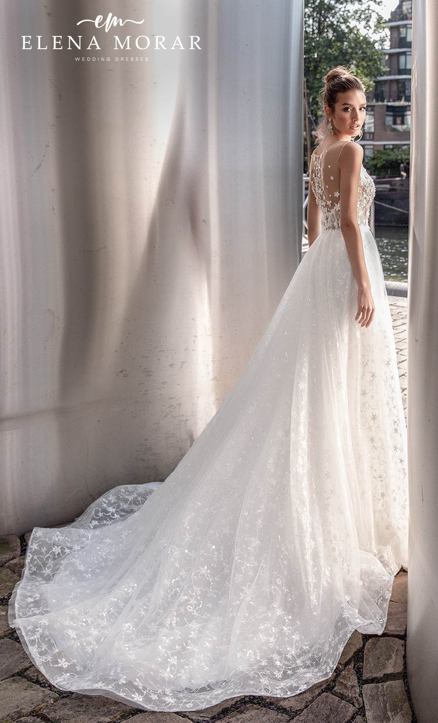 elena morar 2021 rotterdam bridal sleeveless illusion bateau v neck heavily embellished bodice romantic a line wedding dress sheer lace back chapel train (rm016) bv