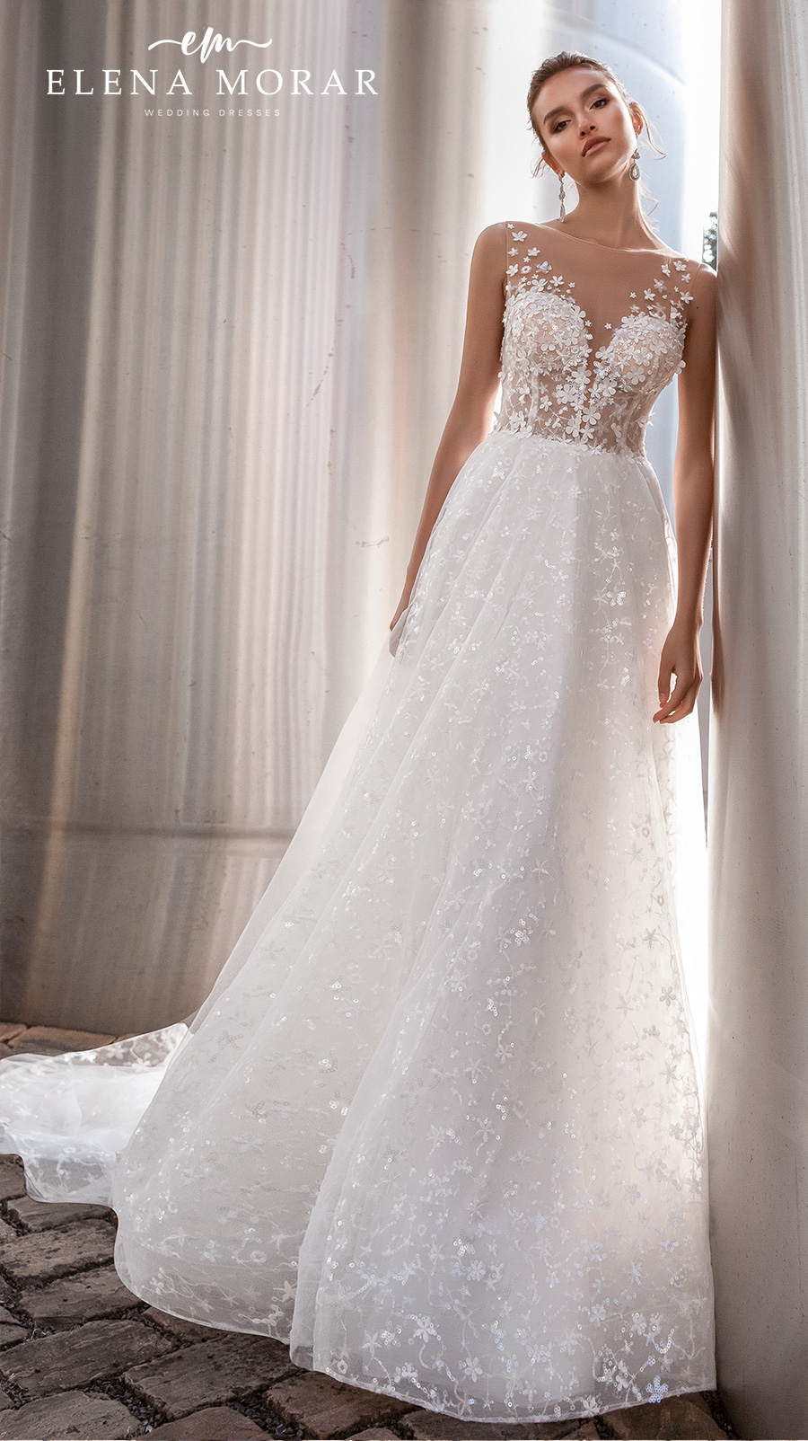 elena morar 2021 rotterdam bridal sleeveless illusion bateau v neck heavily embellished bodice romantic a line wedding dress sheer lace back chapel train (rm016) mv