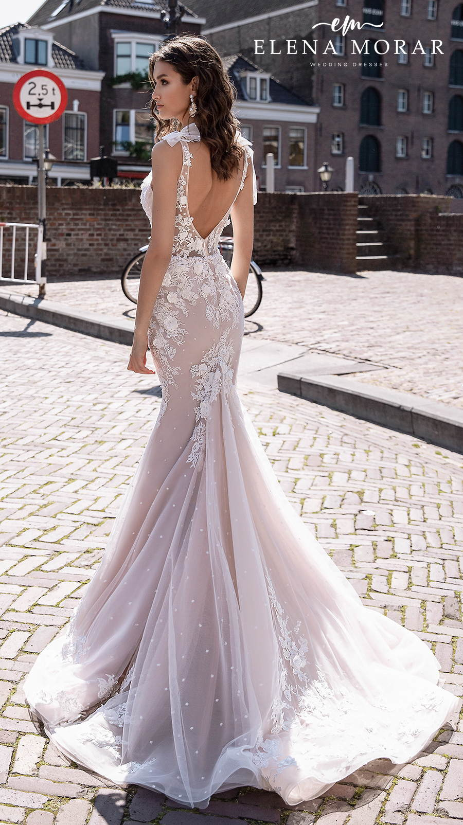 elena morar 2021 rotterdam bridal sleeveless ribbon strap v neck heavily embellished bodice romantic blush mermaid wedding dress v back sweep train (rm004) mv bv