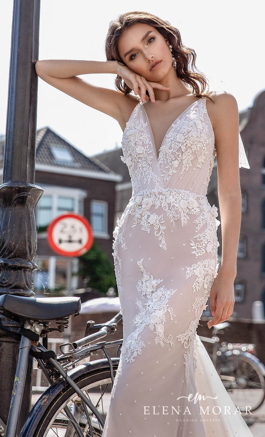 elena morar 2021 rotterdam bridal sleeveless ribbon strap v neck heavily embellished bodice romantic blush mermaid wedding dress v back sweep train (rm004) zv