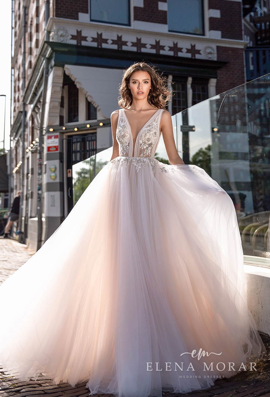 elena morar 2021 rotterdam bridal sleeveless with strap deep v neck heavily embellished bodice tulle skirt romantic soft a line wedding dress low v back sweep train (rm001) mv