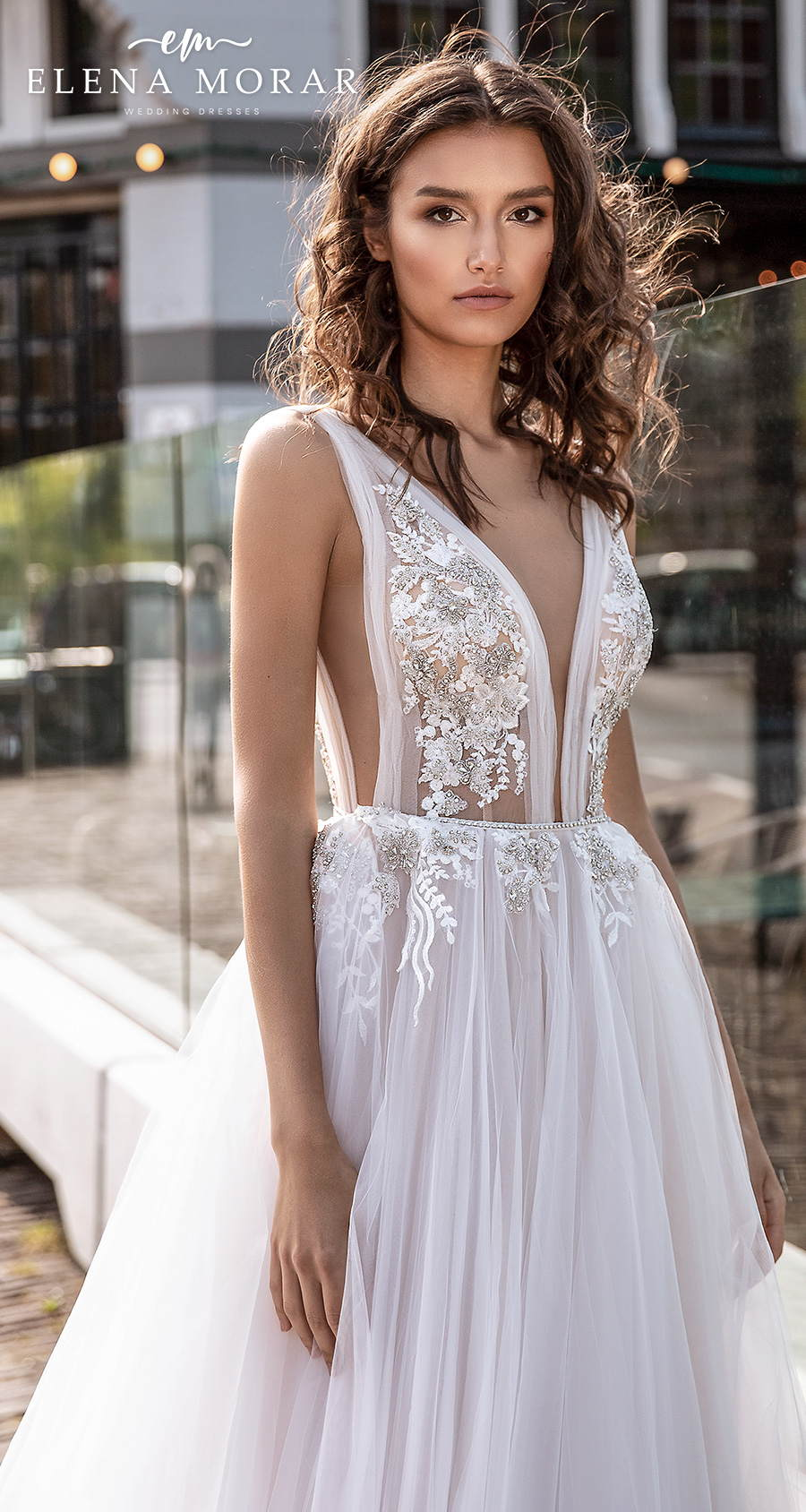 elena morar 2021 rotterdam bridal sleeveless with strap deep v neck heavily embellished bodice tulle skirt romantic soft a line wedding dress low v back sweep train (rm001) zv