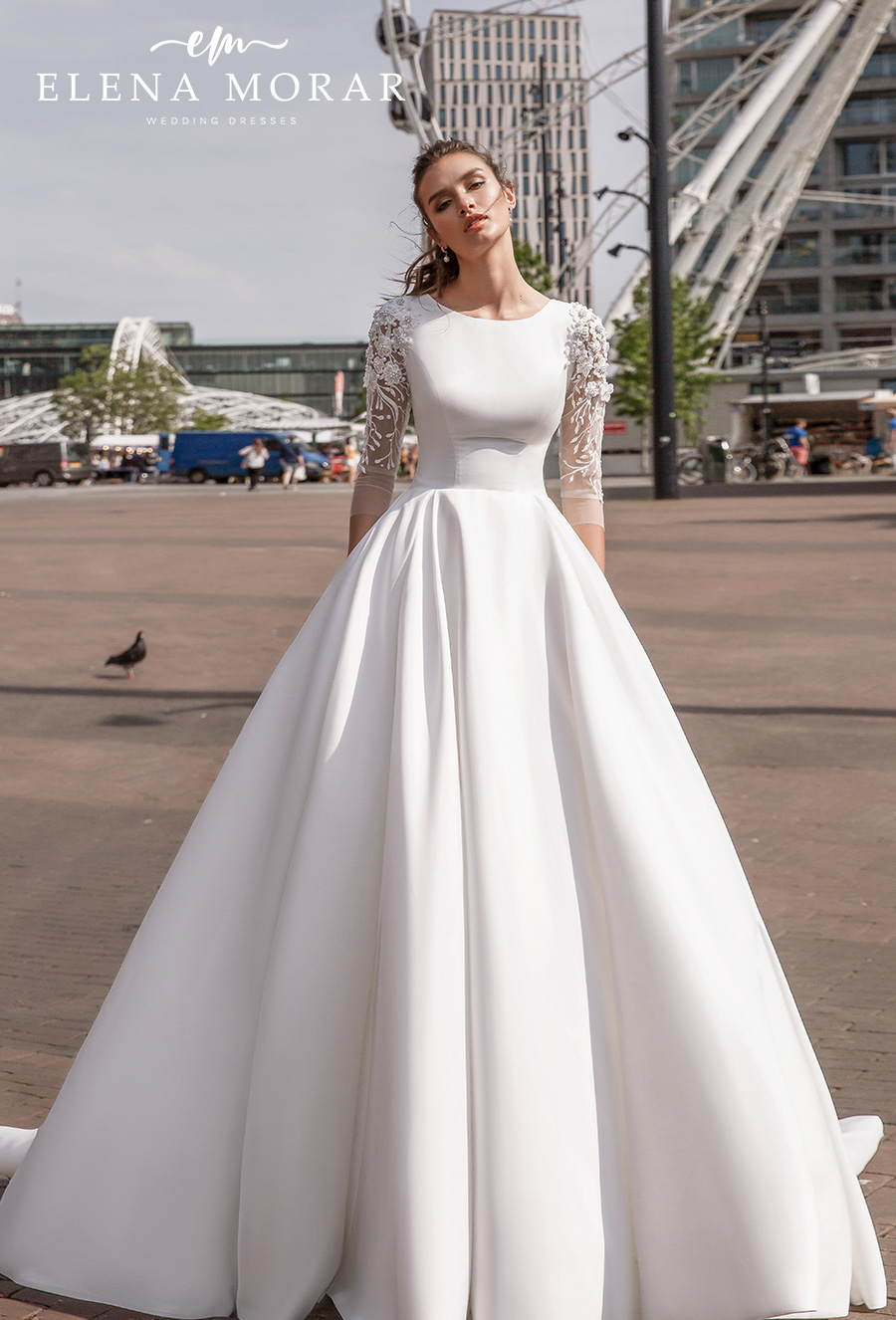 elena morar 2021 rotterdam bridal three quarter sleeves jewel neck simple minimalist princess elegant a line wedding dress corset back chapel train (rm029) mv