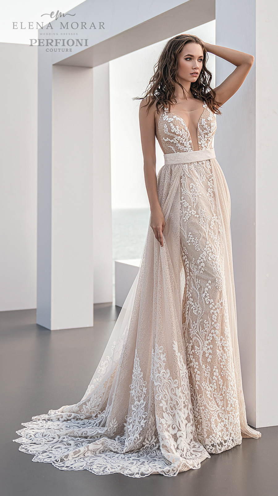 elena morar perfioni 2021 bridal sleeveless thin strap deep plunging sweetheart neckline full embellishment romantic blush sheath wedding dress a line overskirt medium train (3) mv