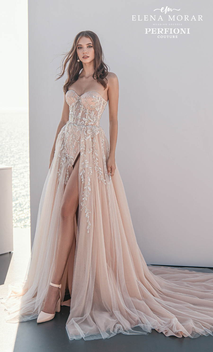 elena morar perfioni 2021 bridal strapless sweetheart neckline full embellishment slit skirt romantic glamorous blush a line wedding dress corset back chapel train (01) mv