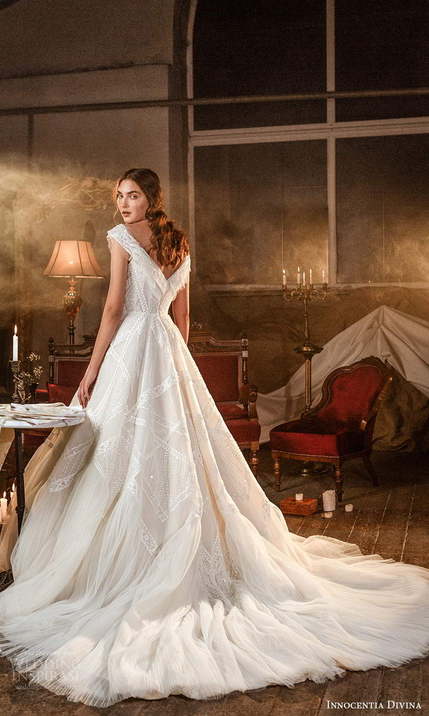 innocentia divina 2021 bridal cap sleeves off shoulder v neckline fully embellished a line ball gown wedding dress chapel train (14) bv