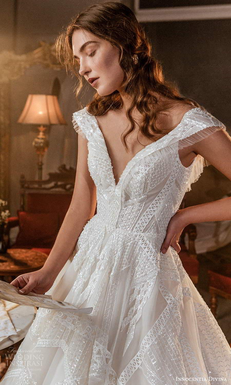innocentia divina 2021 bridal cap sleeves off shoulder v neckline fully embellished a line ball gown wedding dress chapel train (14) mv