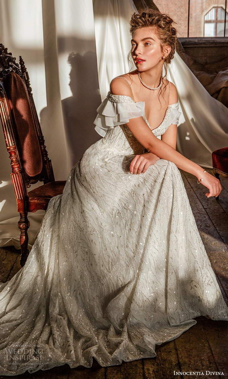 innocentia divina 2021 bridal cold shoulder straps sweetheart neckline fully embellished a line ball gown wedding dress chapel train (12) zv