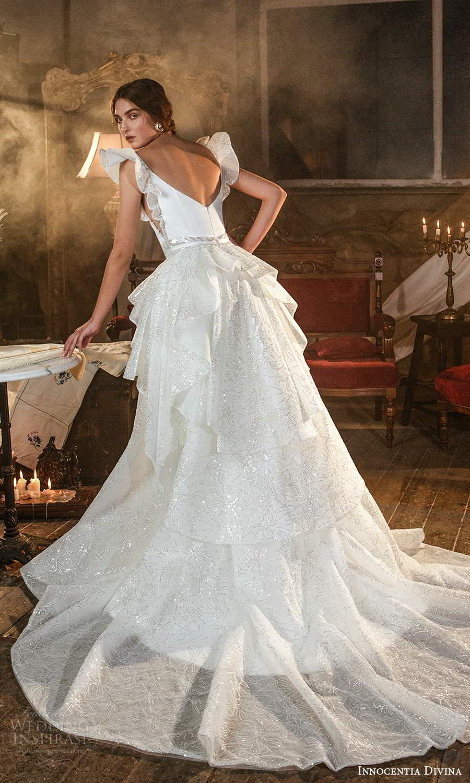 innocentia divina 2021 bridal flutter sleeves plunging v neckline clean a line wedding dress tiered skirt chapel train (3) bv