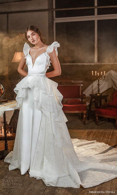 innocentia divina 2021 bridal flutter sleeves plunging v neckline clean a line wedding dress tiered skirt chapel train (3) mv