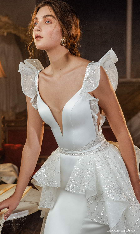 innocentia divina 2021 bridal flutter sleeves plunging v neckline clean a line wedding dress tiered skirt chapel train (3) zv