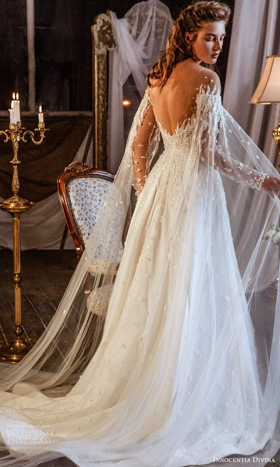 innocentia divina 2021 bridal illusion long flare sleeves sweetheart neckline fully embellished a line ball gown wedding dress chapel train (14) bv
