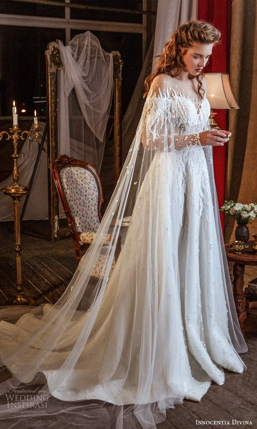 innocentia divina 2021 bridal illusion long flare sleeves sweetheart neckline fully embellished a line ball gown wedding dress chapel train (14) mv