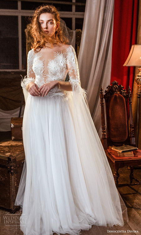 innocentia divina 2021 bridal illusion long split sleeves plunging v neckline a line ball gown wedding dress chapel train (15) mv