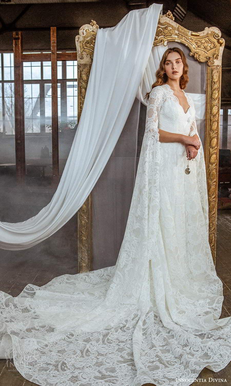 innocentia divina 2021 bridal long split sleeves queen anne neckline fully embellished lace a line wedding dress chapel train (11) mv