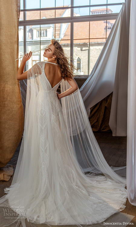 innocentia divina 2021 bridal off shoulder straps plunging v neckline fully embellished a line ball gown wedding dress keyhole back (15) bv