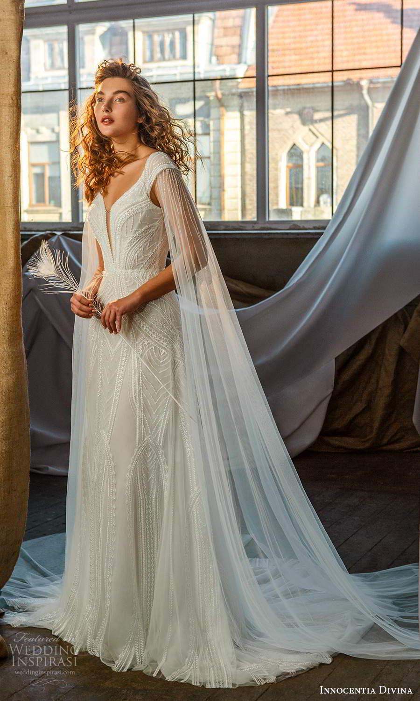 innocentia divina 2021 bridal off shoulder straps plunging v neckline fully embellished a line ball gown wedding dress keyhole back (15) mv
