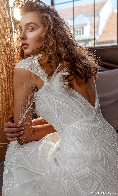 innocentia divina 2021 bridal off shoulder straps plunging v neckline fully embellished a line ball gown wedding dress keyhole back (15) zbv