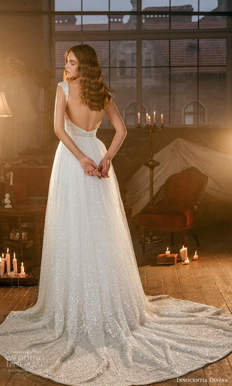 innocentia divina 2021 bridal off shoulder thick straps jewel neckline fully embellished a line wedding dress overskirt chapel train (15) bv