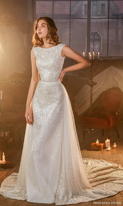 innocentia divina 2021 bridal off shoulder thick straps jewel neckline fully embellished a line wedding dress overskirt chapel train (15) mv