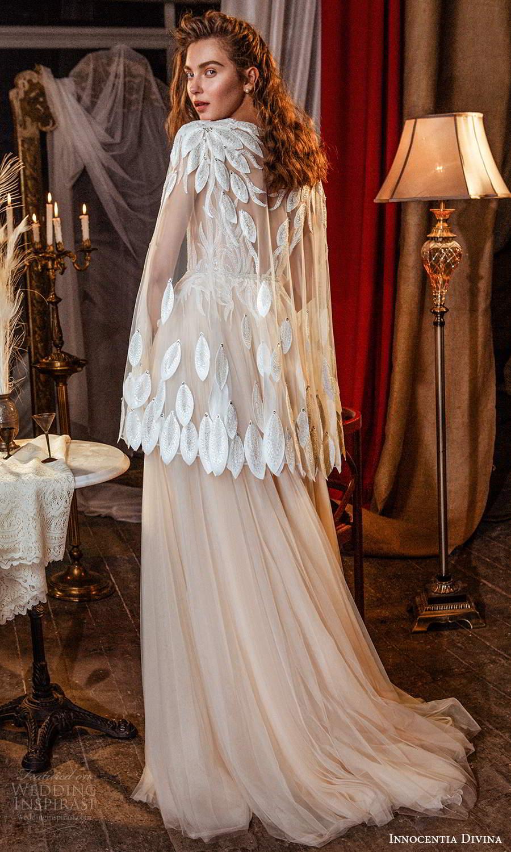innocentia divina 2021 bridal sheer cape sleeves plunging v neckline embellished bodice a line ball gown blush wedding dress sweep train (4) bv