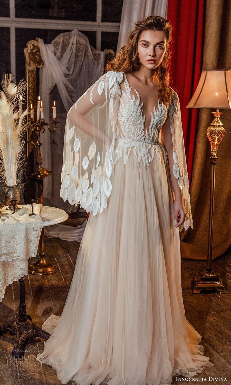 innocentia divina 2021 bridal sheer cape sleeves plunging v neckline embellished bodice a line ball gown blush wedding dress sweep train (4) mv