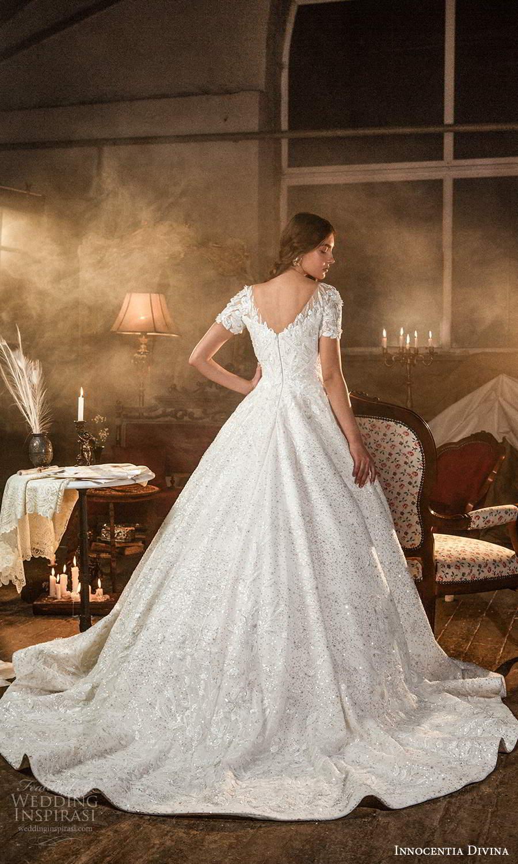 innocentia divina 2021 bridal short sleeves sweetheart neckline fully embellished a line ball gown wedding dress chapel train (13) bv
