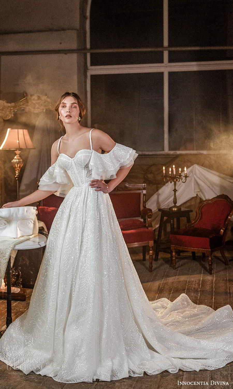 innocentia divina 2021 bridal sleeveless beaded straps sweetheart neckline corset embellished a line ball gown wedding dress chapel train (8) mv