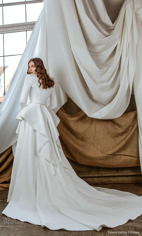 innocentia divina 2021 bridal sleeveless beaded thin strap sweetheart neckline fully embellished sheath wedding dress chapel train long sleeve jacket (2) bv