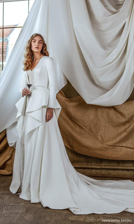 innocentia divina 2021 bridal sleeveless beaded thin strap sweetheart neckline fully embellished sheath wedding dress chapel train long sleeve jacket (2) mv
