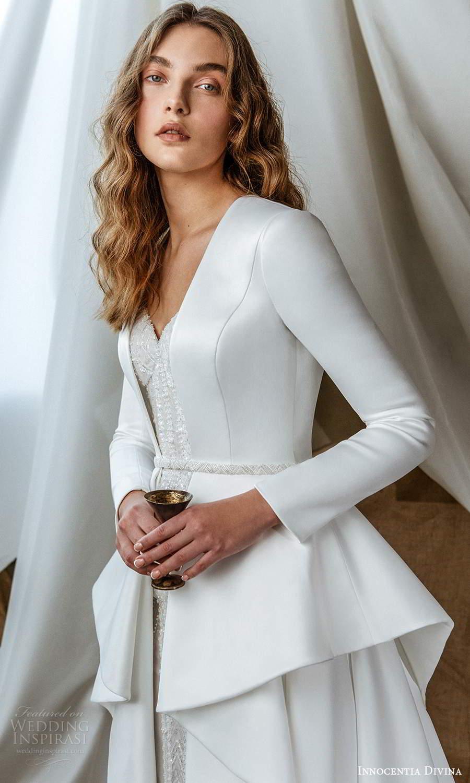 innocentia divina 2021 bridal sleeveless beaded thin strap sweetheart neckline fully embellished sheath wedding dress chapel train long sleeve jacket (2) zv