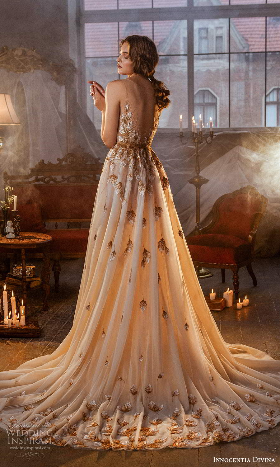 innocentia divina 2021 bridal sleeveless illusion straps v neckline embellished bodice a line ball gown wedding dress chapel train blush (6) bv