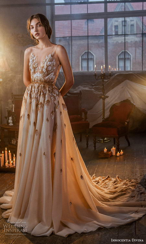 innocentia divina 2021 bridal sleeveless illusion straps v neckline embellished bodice a line ball gown wedding dress chapel train blush (6) mv
