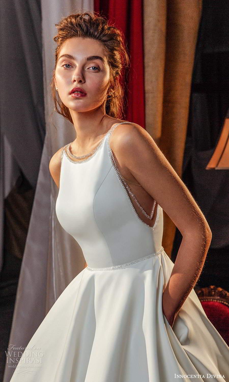 innocentia divina 2021 bridal sleeveless straps jewel neckline clean modern a line ball gown wedding dress chapel train (7) zv