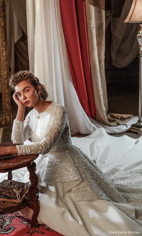 innocentia divina 2021 bridal sleeveless straps jewel neckline clean modern a line ball gown wedding dress long sleeve top chapel train (7) fv