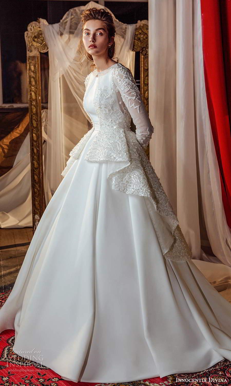 innocentia divina 2021 bridal sleeveless straps jewel neckline clean modern a line ball gown wedding dress long sleeve top chapel train (7) mv