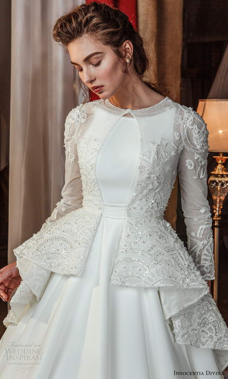 innocentia divina 2021 bridal sleeveless straps jewel neckline clean modern a line ball gown wedding dress long sleeve top chapel train (7) zv
