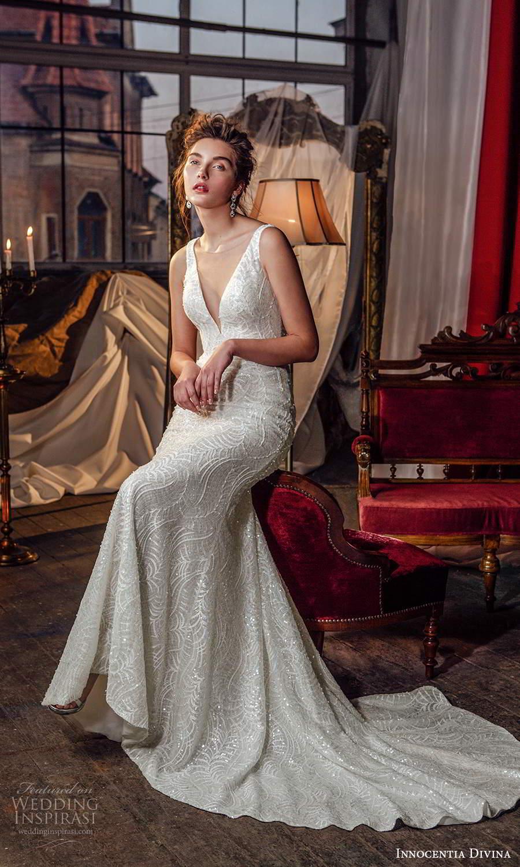 innocentia divina 2021 bridal sleeveless straps plunging v neckline fully embellished sheath wedding dress chapel train (9) mv