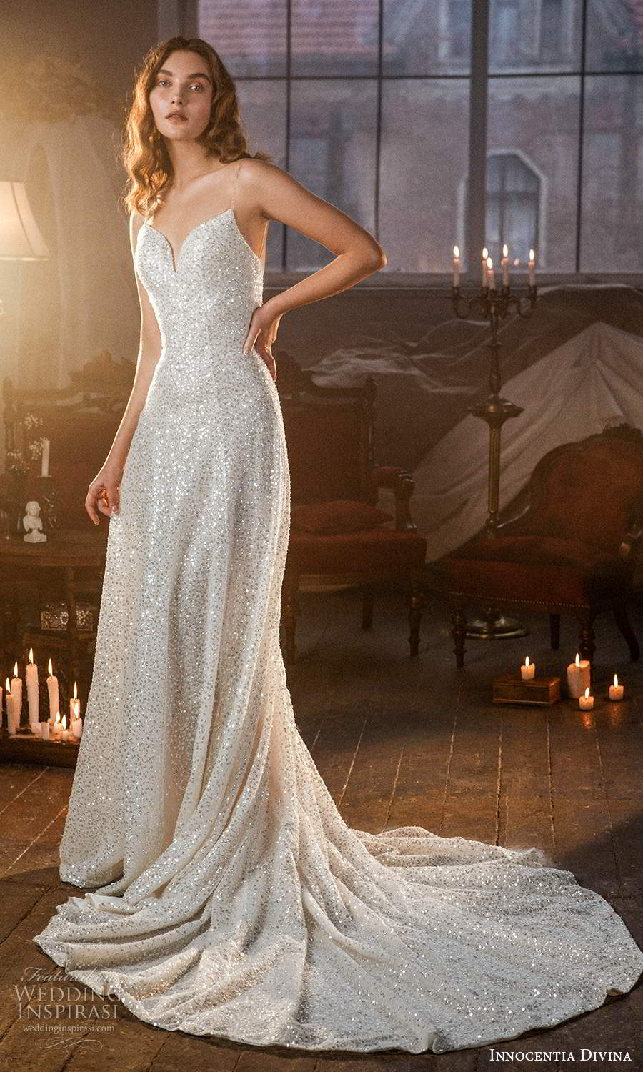 innocentia divina 2021 bridal sleeveless thin straps sweetheart neckline fully embellished a line wedding dress chapel train (5) mv
