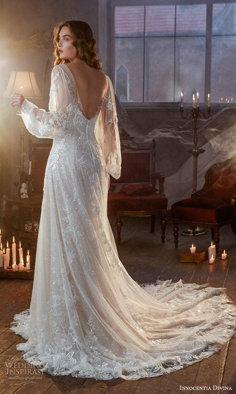 innocentia divina 2021 bridal sleeveless thin straps sweetheart neckline fully embellished a line wedding dress chapel train illusion bishop sleeve overdress (5) bv