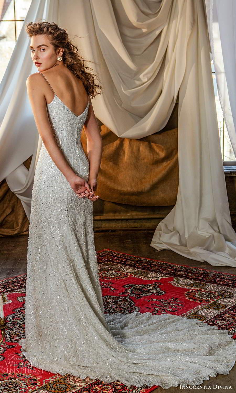 innocentia divina 2021 bridal sleeveless thin straps sweetheart neckline fully embellished sheath wedding dress chapel train (1) bv