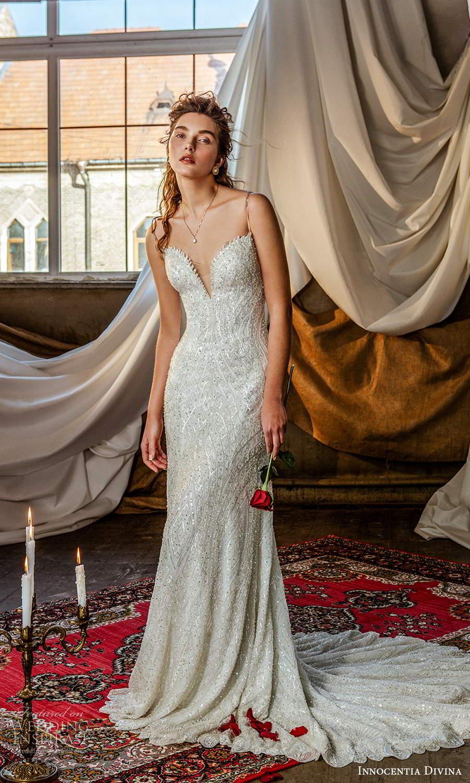 innocentia divina 2021 bridal sleeveless thin straps sweetheart neckline fully embellished sheath wedding dress chapel train (1) mv