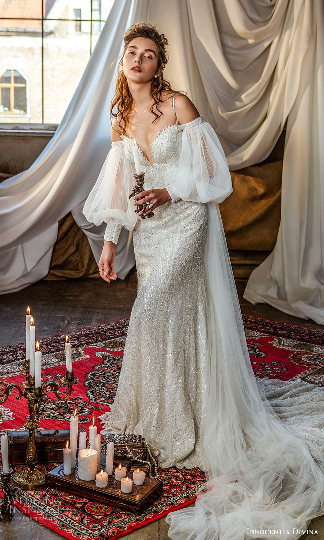 innocentia divina 2021 bridal sleeveless thin straps sweetheart neckline fully embellished sheath wedding dress chapel train detached billowy sleeves (1) mv