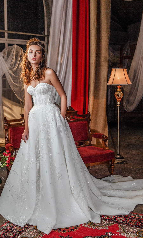 innocentia divina 2021 bridal strapless sweetheart neckline corset bodice a line ball gown wedding dress chapel train (10) mv