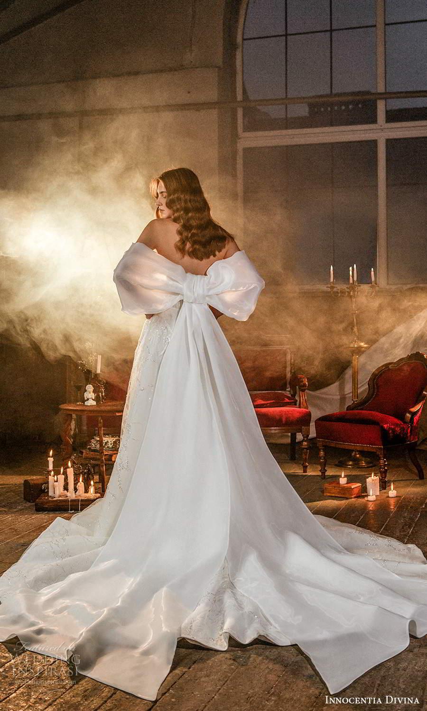 innocentia divina 2021 bridal strapless sweetheart neckline corset bodice a line ball gown wedding dress chapel train train bow (10) bv