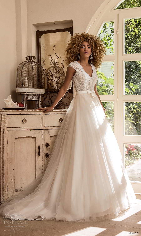 jillian sposa 2021 bridal cap sleeves v neckline lace bodice bow waist a line ball gown wedding dress chapel train (7) mv